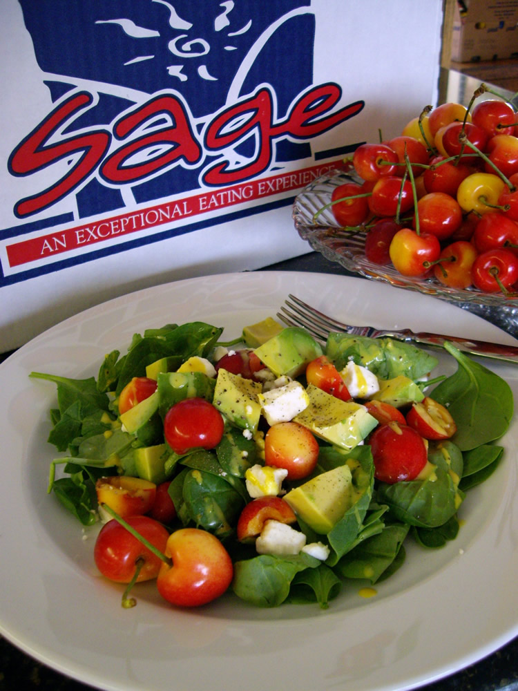 fresh-spinach-avocado-rainier-cherry-and-feta-salad