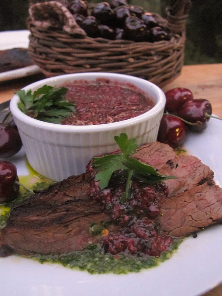 Grilled Skirt Steak with Cherry Chimichurri Sauce