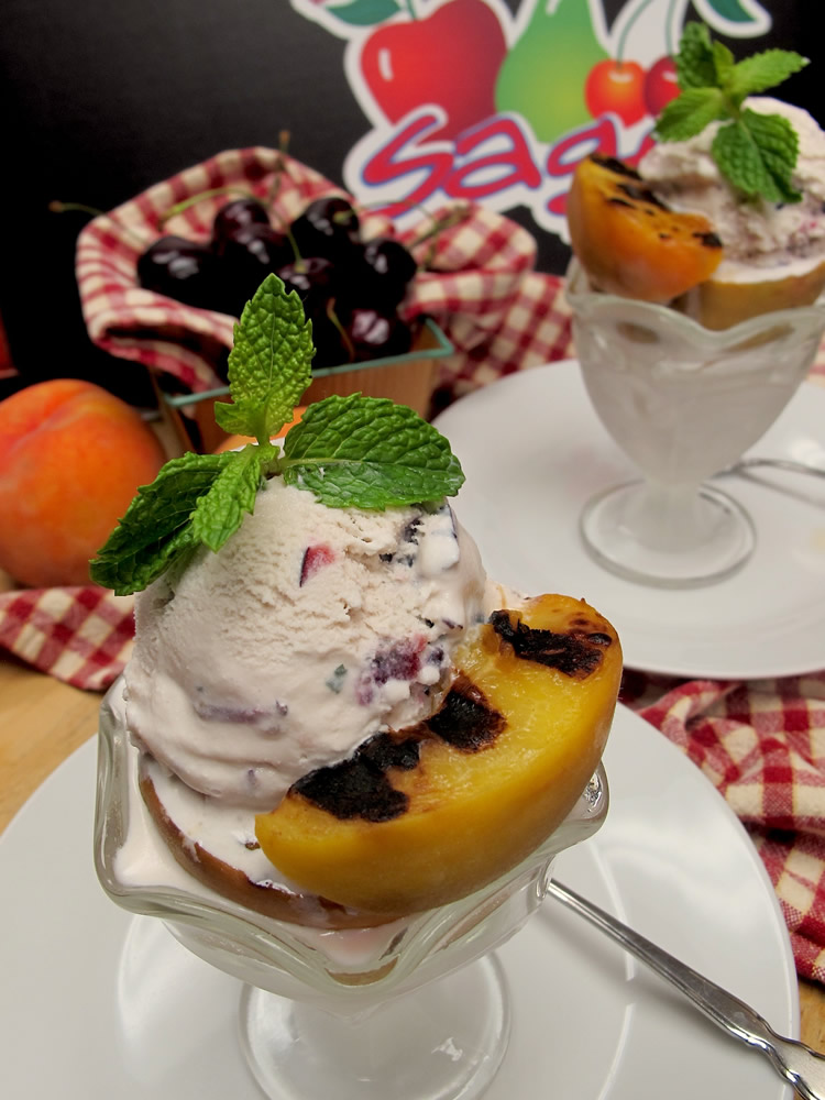 Grilled Peaches w/ Cherry Mint Ice Cream