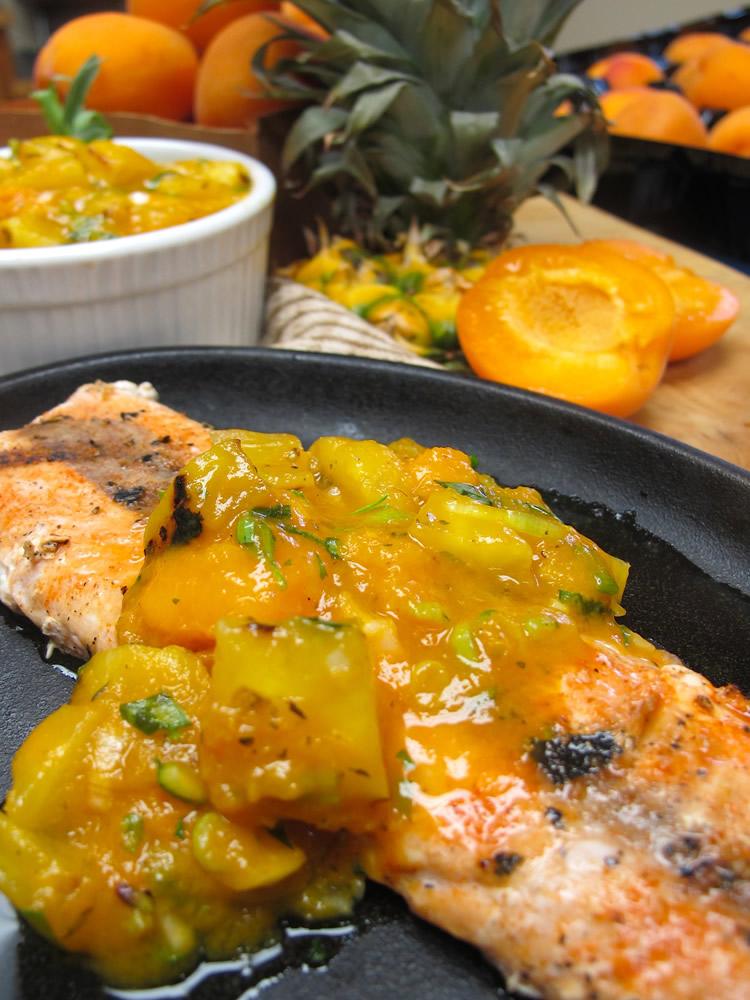 Grilled Salmon w/ Apricot & Pineapple Relish