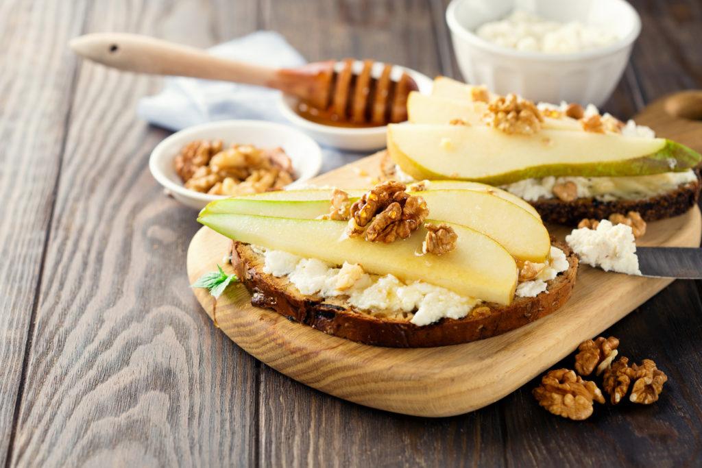 Pear, Cheese & Honey Crostini