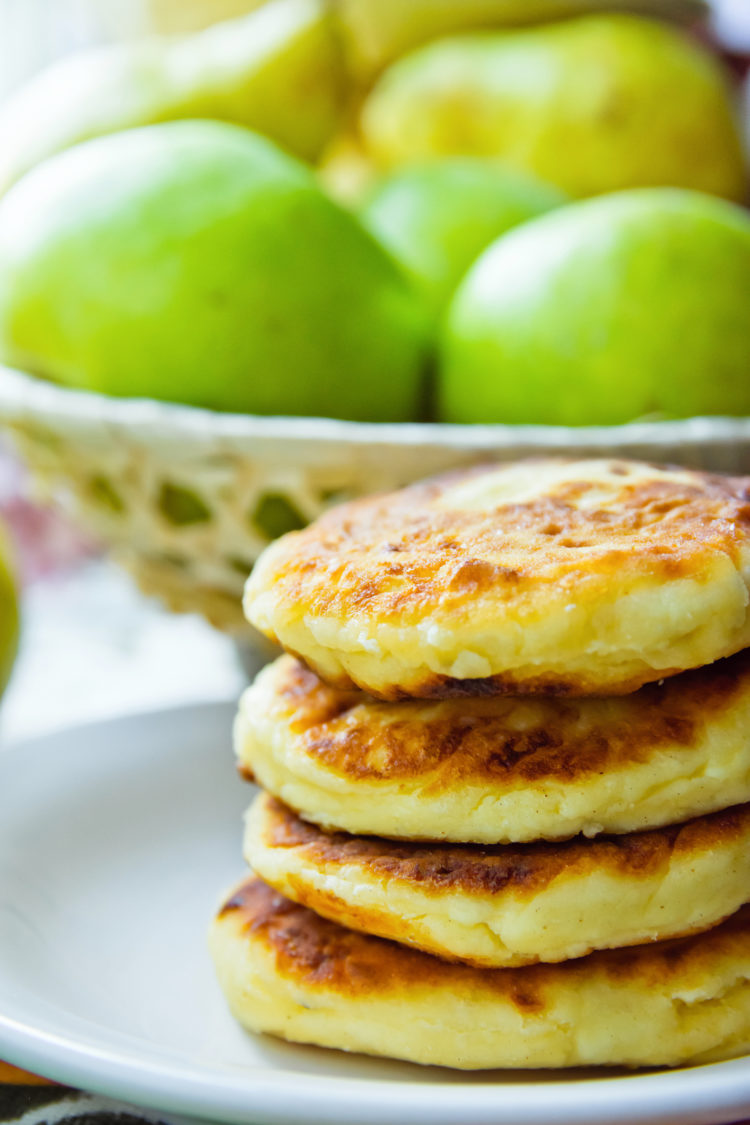 Pear Ricotta Pancakes with Cinnamon Maple Syrup